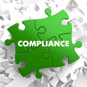 Compliance on Green Puzzle. — Stock Photo