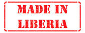 Made in Liberia - inscription on Red Rubber Stamp. — Stock Photo