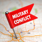 Military Conflict - Small Flag on a Map Background. — Stock Photo