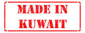 Made in Kuwait - inscription on Red Rubber Stamp. — Stock Photo
