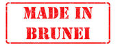 Made in Brunei - inscription on Red Rubber Stamp. — Stock Photo