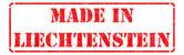 Made in Liechtenstein - inscription on Red Rubber Stamp. — Stock Photo