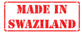 Made in Swaziland - inscription on Red Rubber Stamp. — Stock Photo