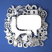 Speech Bubble Icon on Handmade Paper Decoration. — Stock Photo