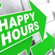 Happy Hours on Green Direction Arrow Sign. — Stock Photo #47973819