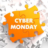 Cyber Monday on Yellow Puzzle. — Stock Photo