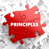 Principles - Concept on Red Puzzle. — Stock Photo