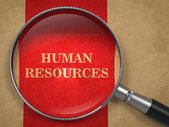 Human Resources Magnifying Glass on Old Paper. — Stock Photo