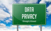 Data Privacy on Green Highway Signpost. — Stock Photo