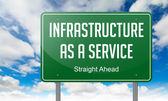 Infrastructure as a Service on Green Highway Signpost. — Stock Photo