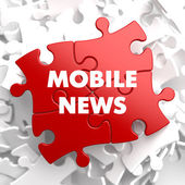 Mobile News on Red Puzzle. — Stock Photo
