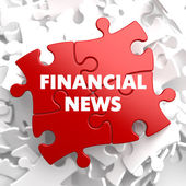 Financial News on Red Puzzle. — Stock Photo