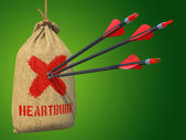 Heartburn - Arrows Hit in Red Mark Target. — Stock Photo