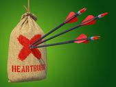 Heartburn - Arrows Hit in Red Mark Target. — Stock Photo