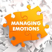Managing Emotions on Yellow Puzzle. — Stock Photo