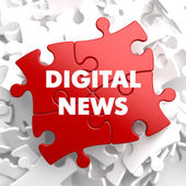 Digital News on Red Puzzle. — Stock Photo