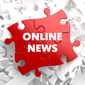 Online News on Red Puzzle. — Stock Photo
