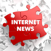 Internet News on Red Puzzle. — Stock Photo