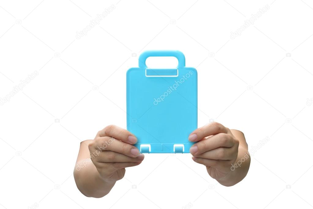 Hand with blue card isolated on white background. — Stock Photo #13470499