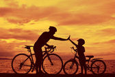 Biker family — Stock Photo