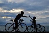 Família de motociclista — Foto Stock