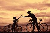 Biker family — Stock Photo