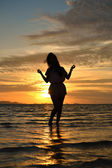 Lady in sunset — Stockfoto