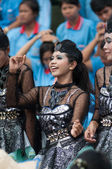 Unidentified Thai students in ceremony during sport parade — Stock Photo
