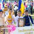 Unidentified Thai students in ceremony uniform during sport parade — ストック写真