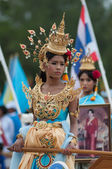 Unidentified Thai students in ceremony uniform during sport parade — Stock Photo