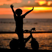 Boy and bike — Stock Photo