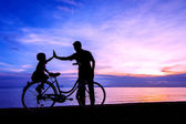 Bike sunset — Stockfoto