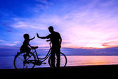 Bike sunset — Stock Photo