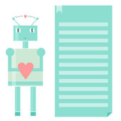 Robot with heart. Geek Valentine's day greeting card. — Stock Vector