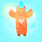 Flying cat character with heart. Romantic textured postcard. — Vettoriale Stock