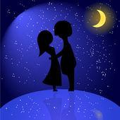 Silhouet van romantische paar nachts — Stockvector