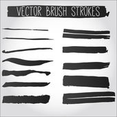 Big set of grunge brush strokes. Collection of black vector ink — Stock Vector