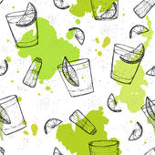 Colored seamless vector pattern of tequila shots with splashes o — Stock Vector