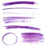Set of violet color pencil strokes and frames. Sketch vector design elements — Stock Vector #51697495