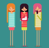Three tall funny girls are chatting. Blond girl stays, woman with dark hair pats white cat, girl with short pink hair eats ice cream. Flat vector character illustration. — Vetor de Stock