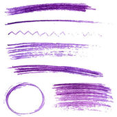 Set of violet color pencil strokes and frames. Sketch vector design elements — Stock Vector