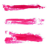 Set of vector red paint stains and textured strokes. Collection of cosmetic swatches. — Stock Vector