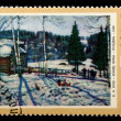 "Postal stamp. K.F. Juon ""The end of winter. Midday"", 1972 — Stock Photo"