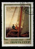 "Postal stamp. Kaspar David Fridrih ""By the sailing vessel"", 1983 — Stock Photo"