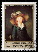 """Postal stamp. Jean-Lui Vual """"The Girl in a hat"""", 1984 — Stock Photo"""