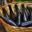 Basket with Bottles — Stock Photo
