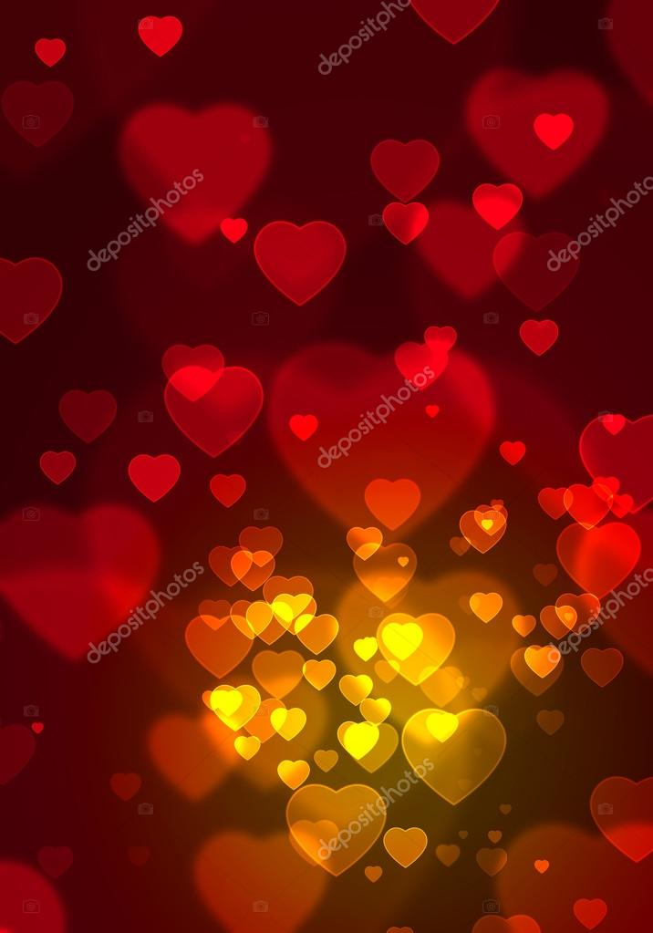 Illustration of abstract romantic background with floating red hearts  — Stock Photo #20356959