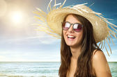 Girl with Staw Hat — Stock Photo