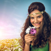 Girl with flowery headband — Stockfoto
