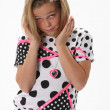 Questioning Surprised young girl — Stockfoto